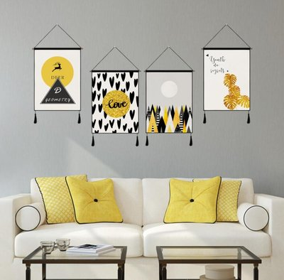 壁畫 壁貼 簡約布藝挂畫床頭背景牆挂毯牆壁裝飾畫家居挂布挂旗—莎芭