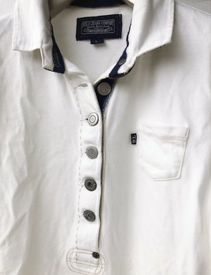 $699起標 Polo Jeans Company 米白色長袖銅釦POLO衫