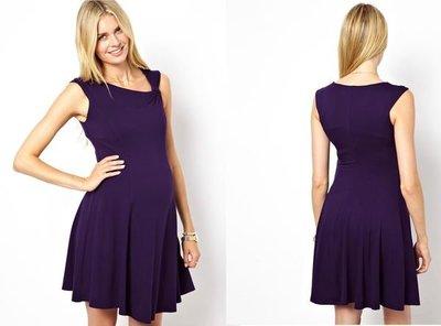 嫻嫻屋) 英國ASOS 甜美孕媽咪法式浪漫斜領合身高腰Flare Dress洋裝小禮服現貨紫色UK8 Maternity