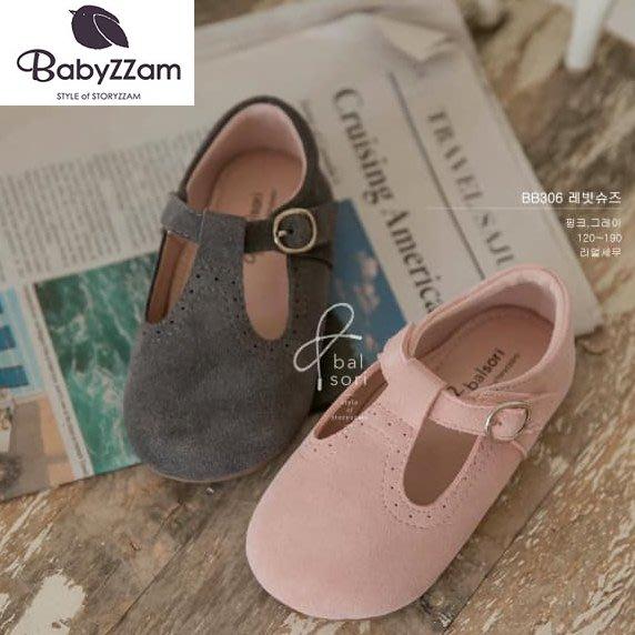 『※妳好,可愛※』妳好可愛韓國童鞋 BABYZZAM~正韓 歐風十字休閒娃娃鞋(真皮款)