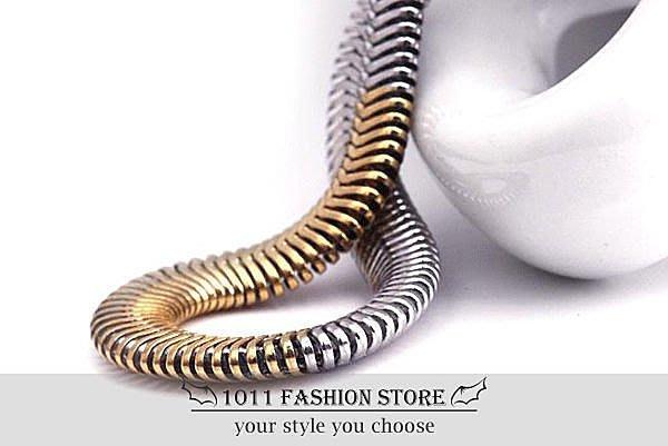 韓國 男性 / 女性 西德鋼 / 鈦鋼 不鏽鋼 蛇紋 金銀漸層 個性項鍊 不鏽鋼項鍊 HB-102002