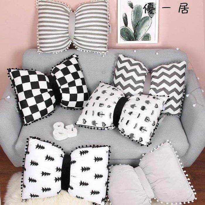 軟糖佳嘉 可愛球球蝴蝶結抱枕毯子兩用北歐INS床頭沙發靠墊抱枕被Y-優思思