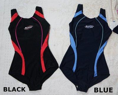 Kini-SUPAY泳裝-連身三角泳衣-黑底流線二款[黑紅/丈青藍]好穿彈性佳[M-XL]-特價890元