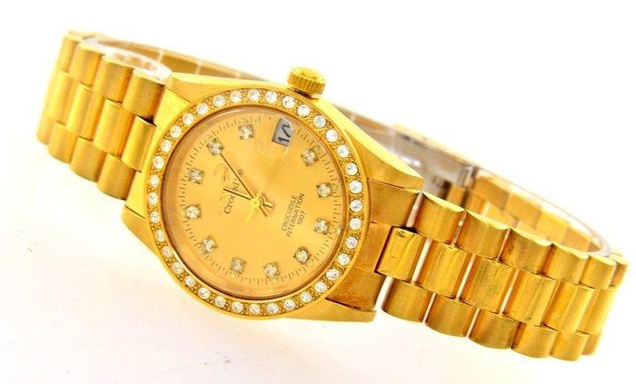 (六四三精品)鱷魚牌.中型錶徑3.0公分.全金錶款.十珠面.精準型手錶!