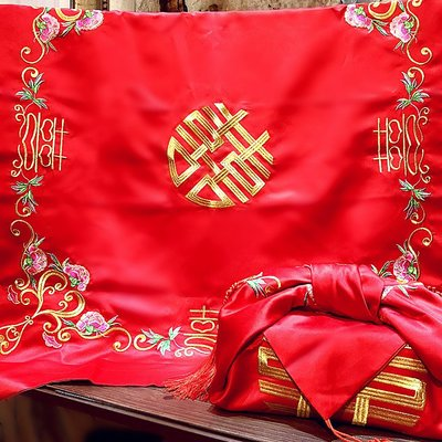 LANTERN 結婚用品結婚包袱婚慶女方陪嫁紅包袱皮新娘新人嫁妝喜盆包裹布