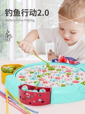 積木城堡 迷你廚房 早教益智寶寶小貓釣魚小孩早教玩具2套裝1-3歲4-5-6兒童電動益智女孩男孩