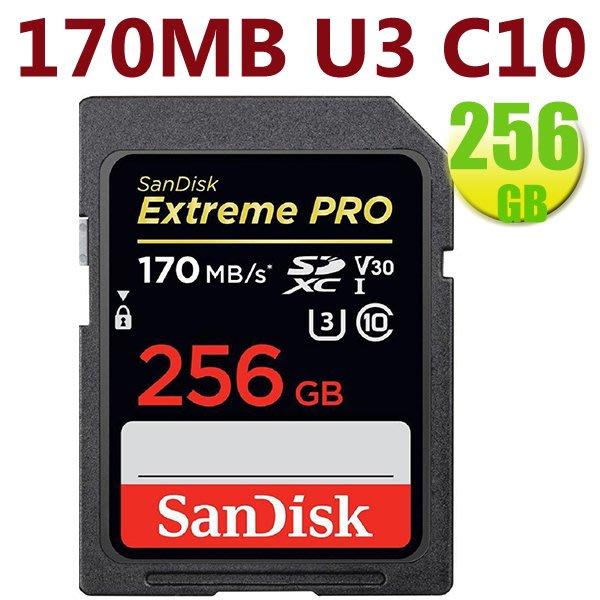 SanDisk 256GB 256G SDXC【170MB/s】Extreme Pro V30 U3 4K 記憶卡 SD