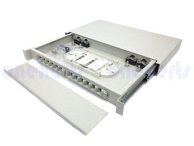 現貨 加厚19英吋抽屜式光纖終端盒通盒 12口 12路 支援 SC LC ST FC耦合器 機櫃式 光工作站 資訊材料