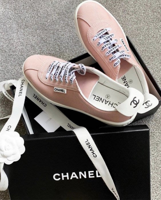 Chanel sneakers CC logo 休閒鞋 白 / 粉紅 37.5