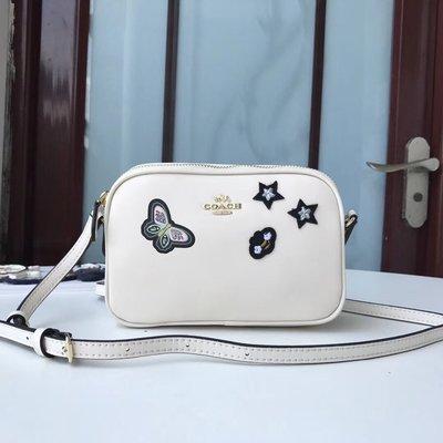 風格 COACH 全新正品 28393 刺繡斜跨手拿包 雙拉鏈單肩小包 外出方便 女包附購買證明