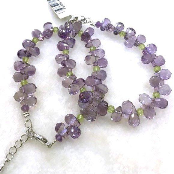 『純天然水晶量販』天然紫水晶搭配橄欖石手鍊 特級鑽石切割~超高淨度~光亮度超優~送禮.禮物~附禮盒