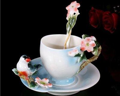 5Cgo【鴿樓】會員有優惠 琺琅瓷 12988927018 喜鵲報喜 立體陶瓷杯盤匙組 咖啡 花茶 下午茶 貴婦享受