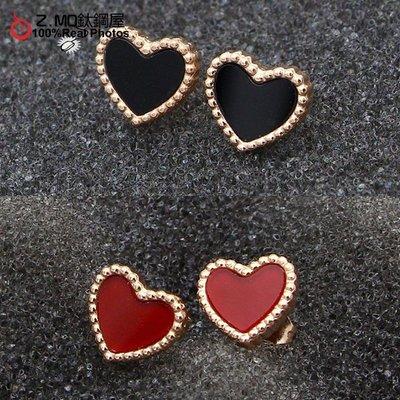 316L鈦鋼 愛心耳環 兩色可選 韓系優雅風格 甜蜜浪漫 一對價【AJS077】Z.MO鈦鋼屋
