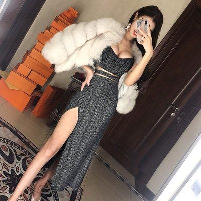 日韓女裝 洋裝 T恤 女褲 2019夏季新款名媛氣質吊帶低胸V領高開叉網紗連衣裙包臀顯瘦長裙