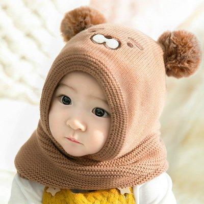 千禧禧居~男女童帽子圍巾套裝冬天季加絨針織帽正韓ins寶寶毛線帽可愛保暖