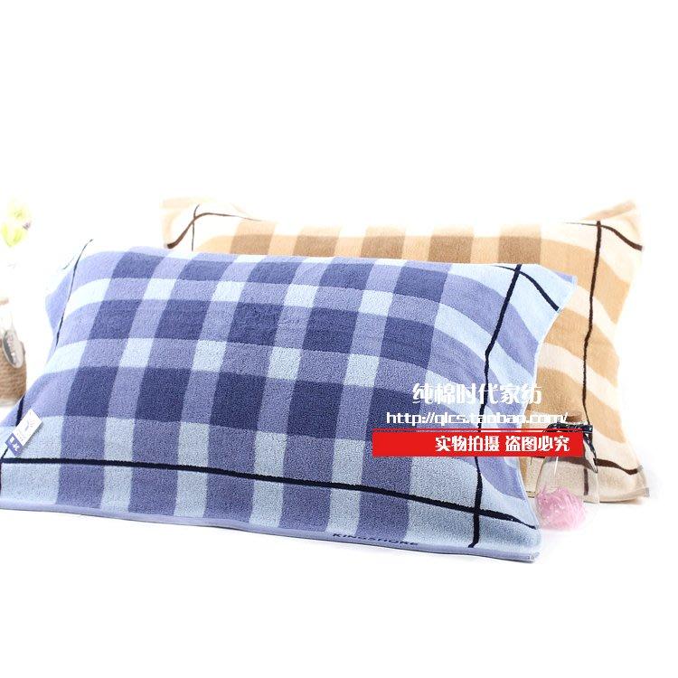 【ulker_801營業中】金號枕巾加厚純棉格子提緞成人枕巾G2051藍色加大柔軟