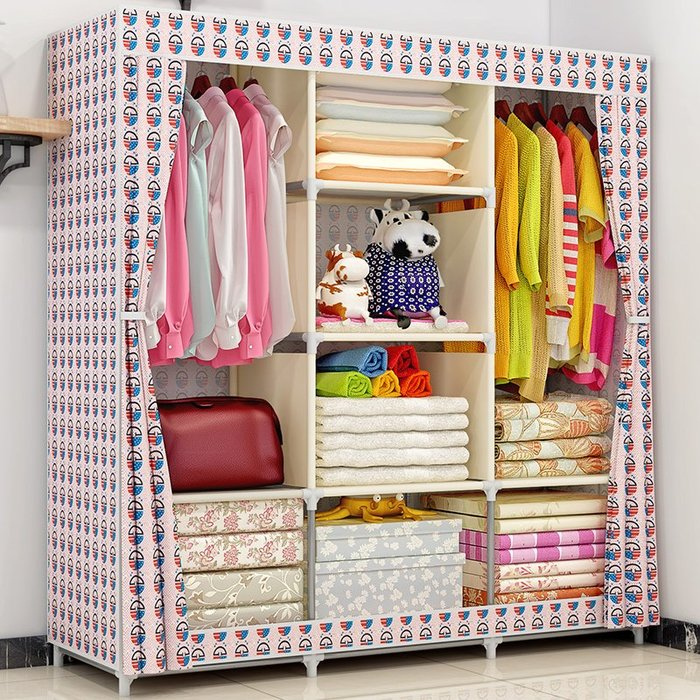 居家 置物架 鞋架 收納架 簡約 創意 折疊布衣柜收納組裝布藝經濟型雙人簡約現代柜子簡易布衣柜