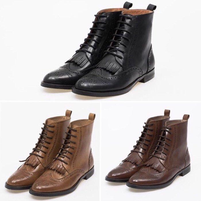牛皮手工鞋 雕花流蘇牛津綁帶短靴 oxford boots 內外真皮