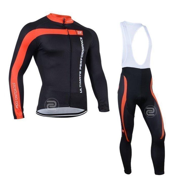【綠色運動】2014款蝎子castelli 3T黑紅 自行車衣長袖款 自行車服 吊帶腳踏車衣 車衣車褲背帶長套裝