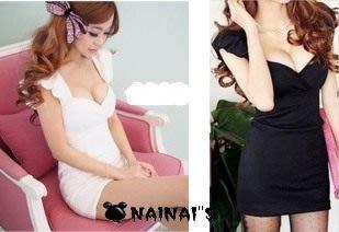 【NAINAIS】Alice‧S 4338 韓版 夜店跑趴 飛飛袖褶皺低胸收腰洋裝 <現貨黑色M/L號>