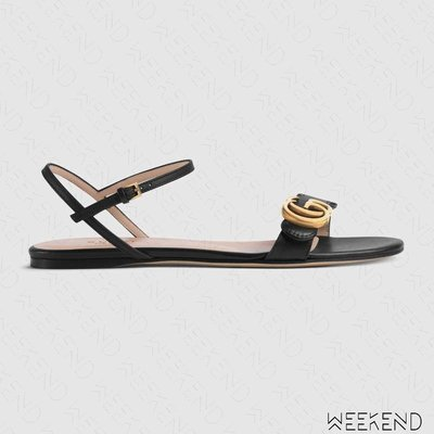【WEEKEND】 GUCCI Double G 皮革 平底 涼鞋 黑色 524631