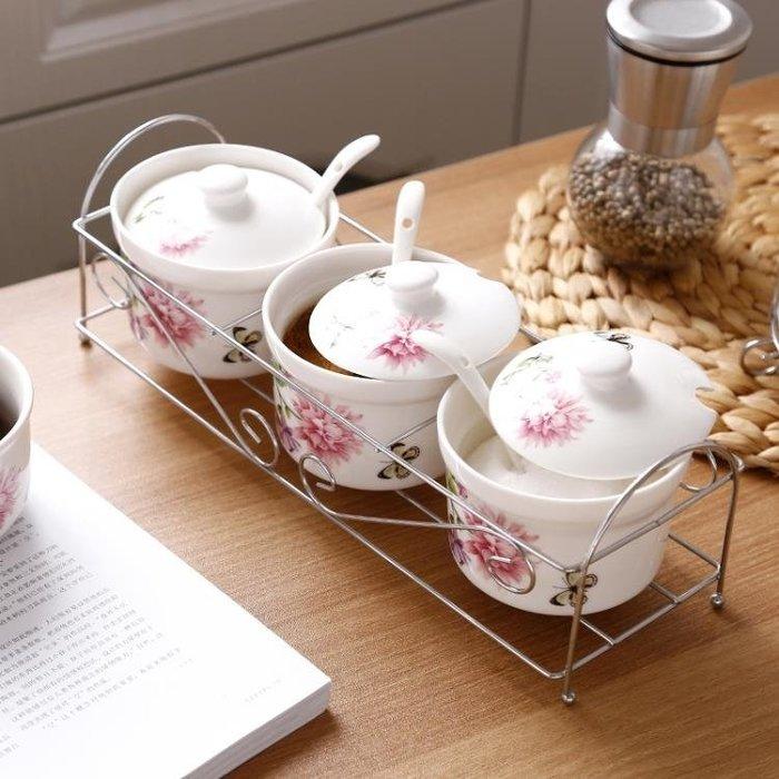 調味罐 冠宇陶瓷調味罐家用套裝調味盒調味瓶組合裝鹽罐調料盒三件套廚房