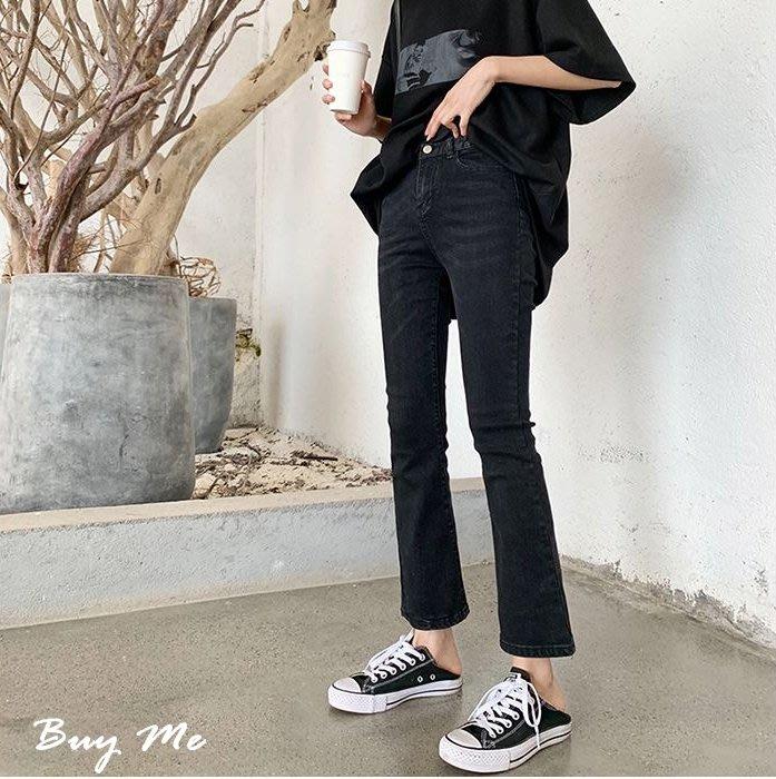 Buy Me 春夏新款簡約顯瘦高腰彈力牛仔小喇叭長褲 S-L