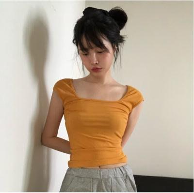 T恤 上衣 漂亮女孩 Jennie風格 性感修身方領TEE 韓國復古純色短袖T恤