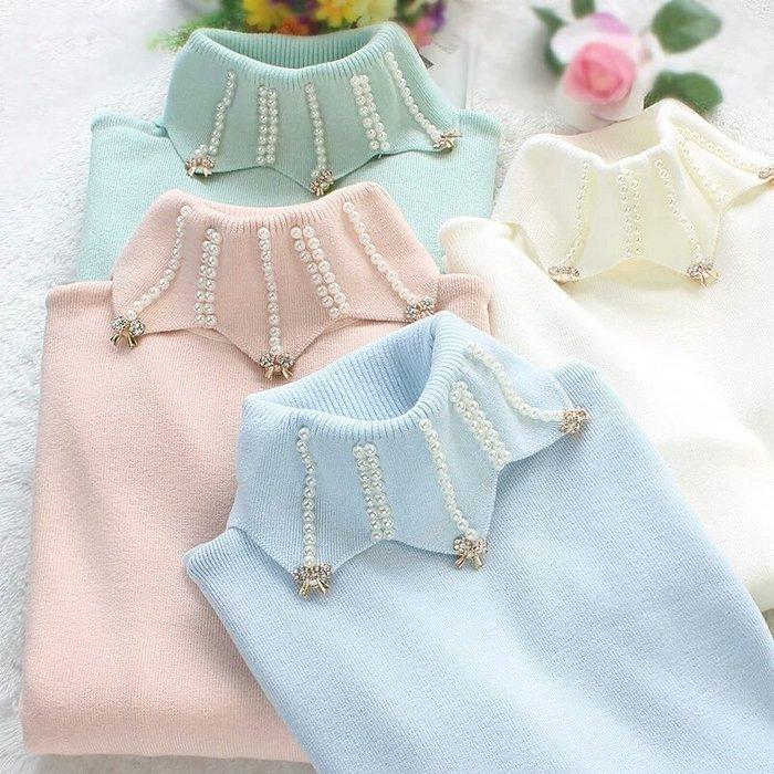 粉紅玫瑰精品屋~秋冬新款針織高彈力修身高領珍珠套頭打底衫~