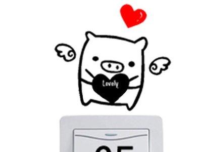 壁貼工場-可超取 小號壁貼 牆貼 貼紙 開關貼- 組合貼 HK5-358 情侶豬(告白豬)