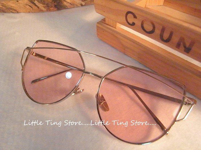 明星款復古金屬鏡框雷朋鼻墊款+角型金屬框腳架 芭比粉鏡片UV400偏光太陽眼鏡 防風/防曬眼鏡