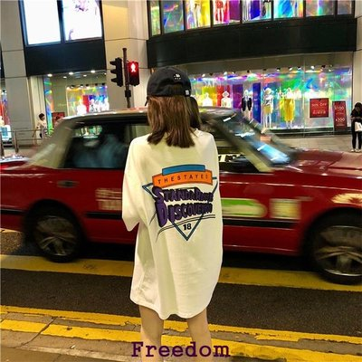 Freedom.~韓國ins原宿bf后背字母短袖T恤中長款下衣失蹤怪味少女上衣寬松潮