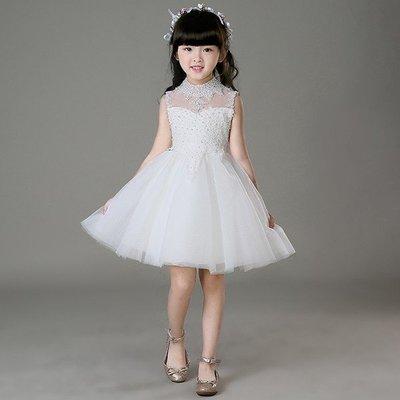 兒童婚紗禮服公主裙2016新款夏女童晚禮服鋼琴演出服花童蓬蓬裙女