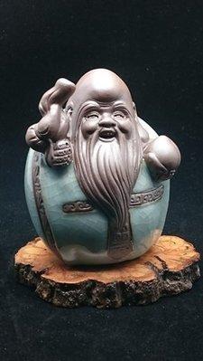 【家蓁香茶坊】創意汽車裝飾擺件內飾用品紫砂陶瓷哥窯茶寵福祿壽