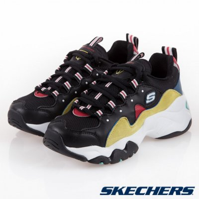 =E.P=Skechers DLITE 3.0 ZENWAY 休閒鞋 老爹鞋 女款 黑黃 厚底 12955BKYL
