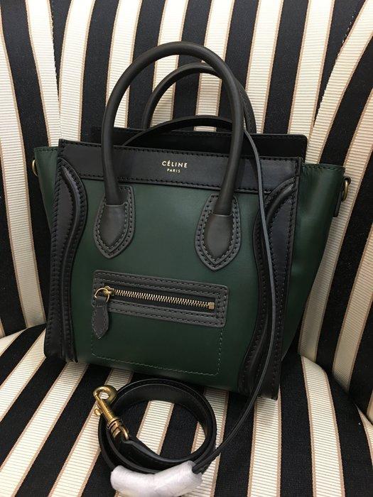 喬瑟芬【CELINE】賠售清倉~Nano Luggage 冏包 森林綠3色拼168243 Forest 皮革 手提包