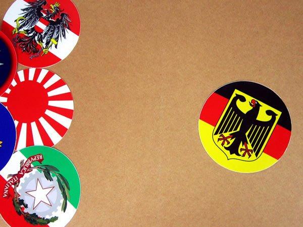 【國旗貼紙專賣店】德國徽旗圓形旅行箱貼紙/抗UV防水/Germany/多國款可收集和客製
