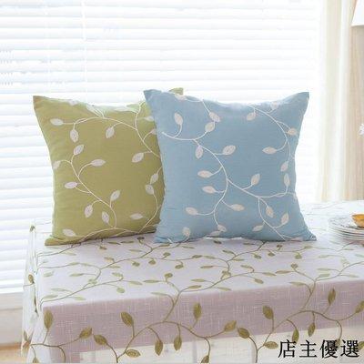 韓系田園繡花抱枕簡歐布藝床上靠枕滌棉沙發床頭靠腰枕墊靠墊套