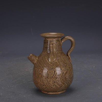 【三顧茅廬 】唐代灰地全手工絞胎瓷雙系執壺 文物出土古瓷器古玩古董收藏