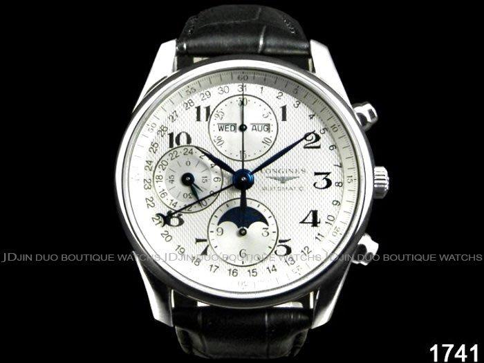 金鐸精品~1741 LONGINES 浪琴 巨擘Master系列 全日曆多功能月相 自動上鍊計時男錶