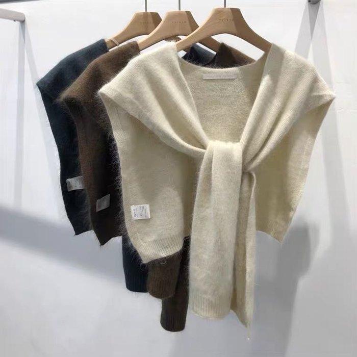 秋冬新款 純色羊毛針織披肩