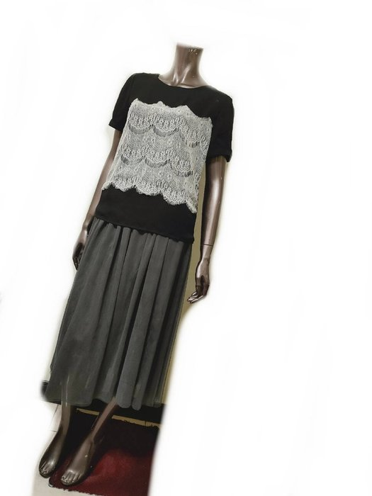 深灰色網紗層次鬆緊帶長裙