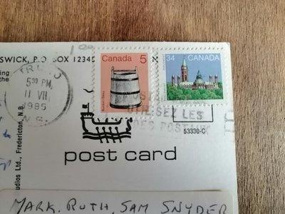 ??老明信片 實寄明信片 加拿大??寄美國?? 貼郵票 郵戳