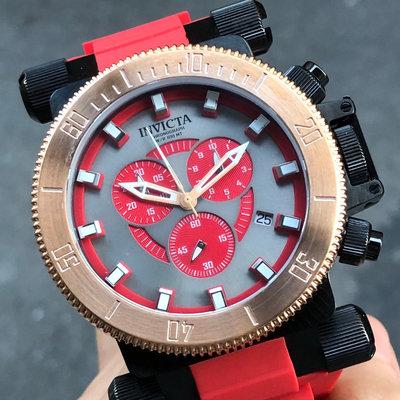 全新現貨出清價 可自取 INVICTA 27842 手錶 51mm 三眼計時 灰色面盤 玫瑰金 紅色橡膠錶帶 男錶