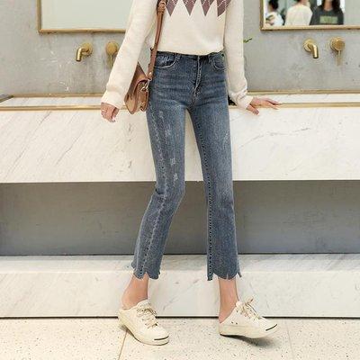 韓版懷舊磨白修身顯瘦微喇彈力牛仔褲女