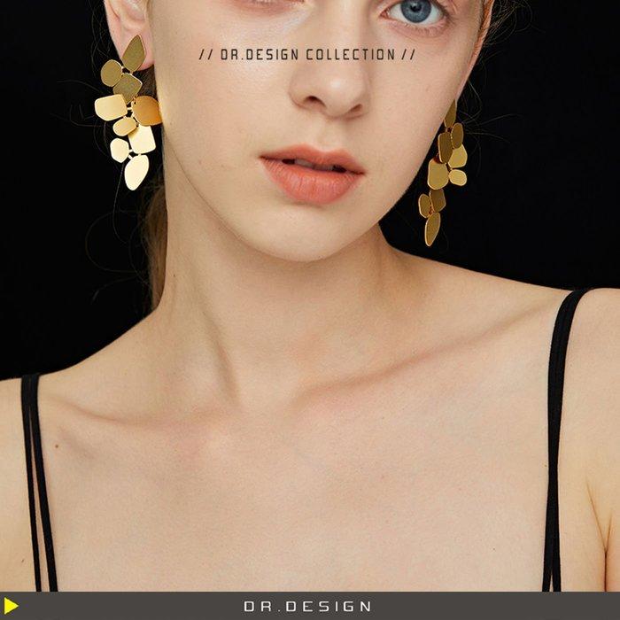 10/23新品►DR.DESIGN│DR31711-美爆 質感 歐美網紅 ins 誇張 不規則設計 長短可拆卸 金色耳環