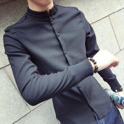 長袖襯衫 立領按壓扣長袖素面襯衫 男長袖個性簡約百搭學生帥氣修身