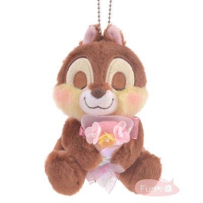 日本迪士尼 奇奇 花朵 別針吊飾 絨毛娃娃。現貨【Fun心購】