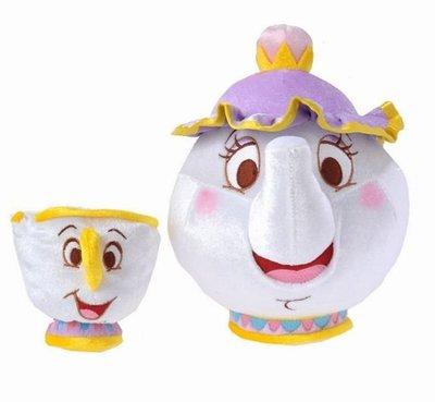現貨☆汪將☆日本迪士尼 HAPPY TEA TIME 美女與野獸 茶壺媽媽 阿奇杯杯 絨毛布偶 娃娃