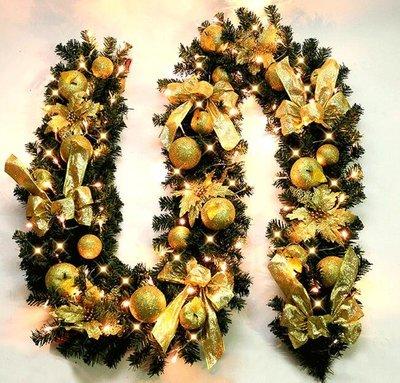 聖誕節裝飾品 聖誕藤條2.7米豪華加密led燈條發光酒店商場場景布置多色聖誕節裝飾品—莎芭